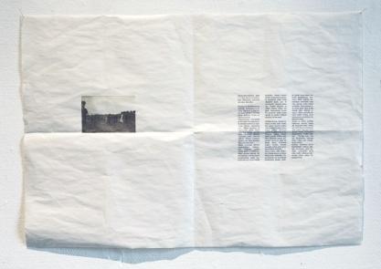 And how her steps remain incomplete. Archive image and the text, inkprint on newspaper paper, size 60 x 70 cm (Ja miten hänen askelensa jäävät keskeneräisiksi)