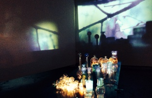 Still Life with Mary (2012) installation with glass objects and film, music. Duration 12min, looped.