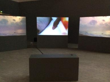 Coriolis, 3x16:9 screen, 2012. Color, sound (language; French, Mina) English subtitles, 18min, looped.